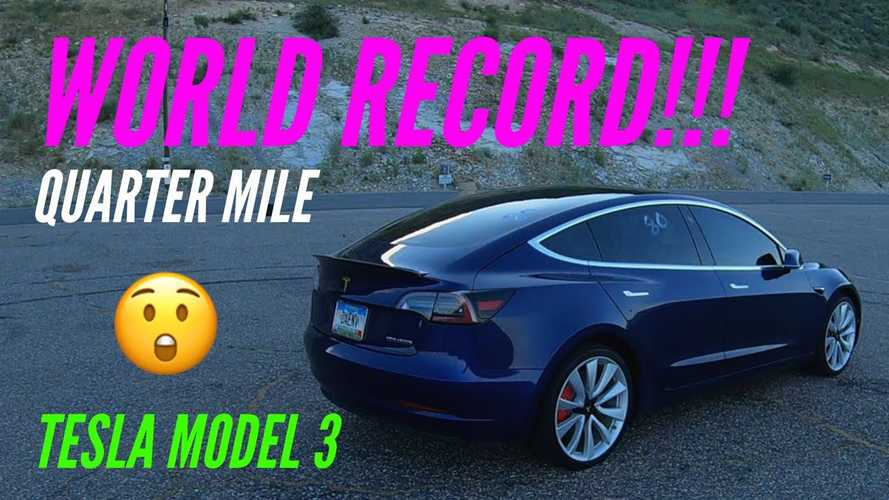 Watch Tesla Model 3 Set New 1/4-Mile World Record: Video