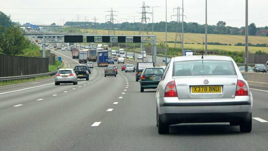 Traffic on M1 motorway in London UK
