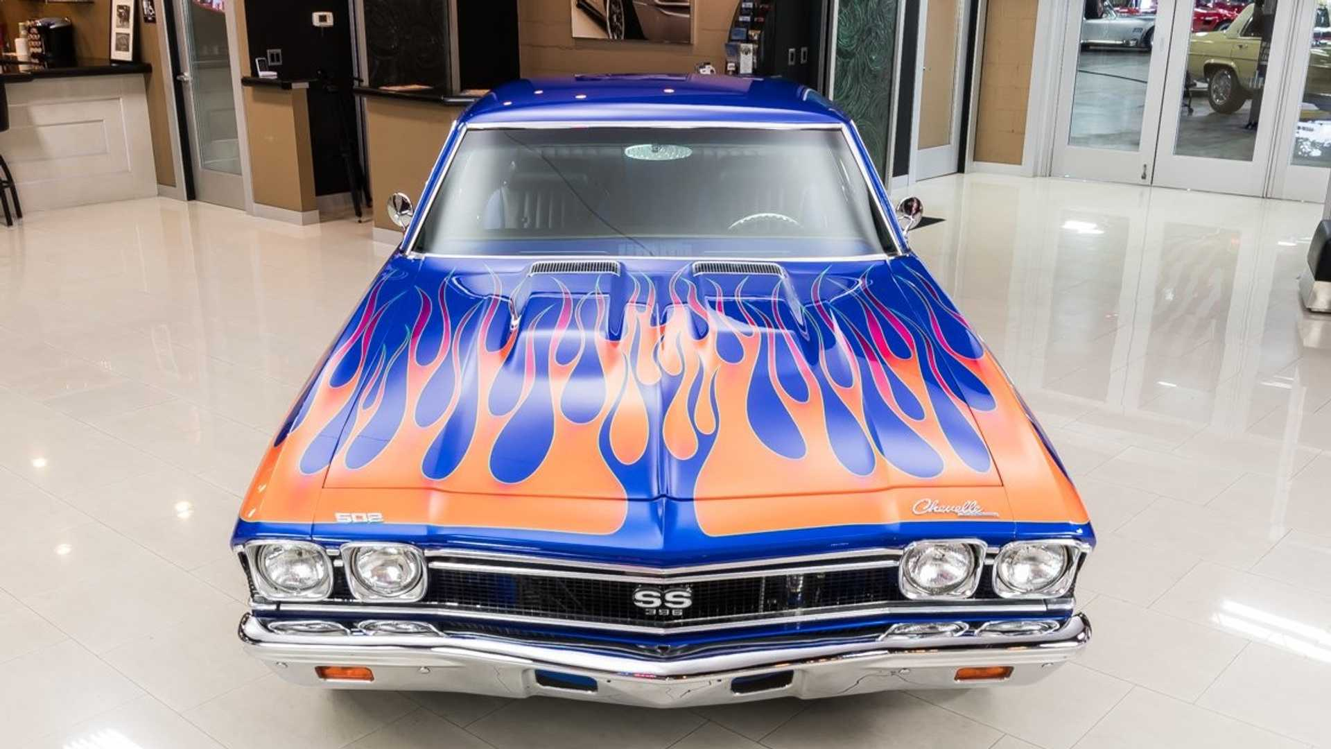 """[""""Flaming Hot Blue Pearl 1968 Chevrolet Chevelle Restomod""""]"""