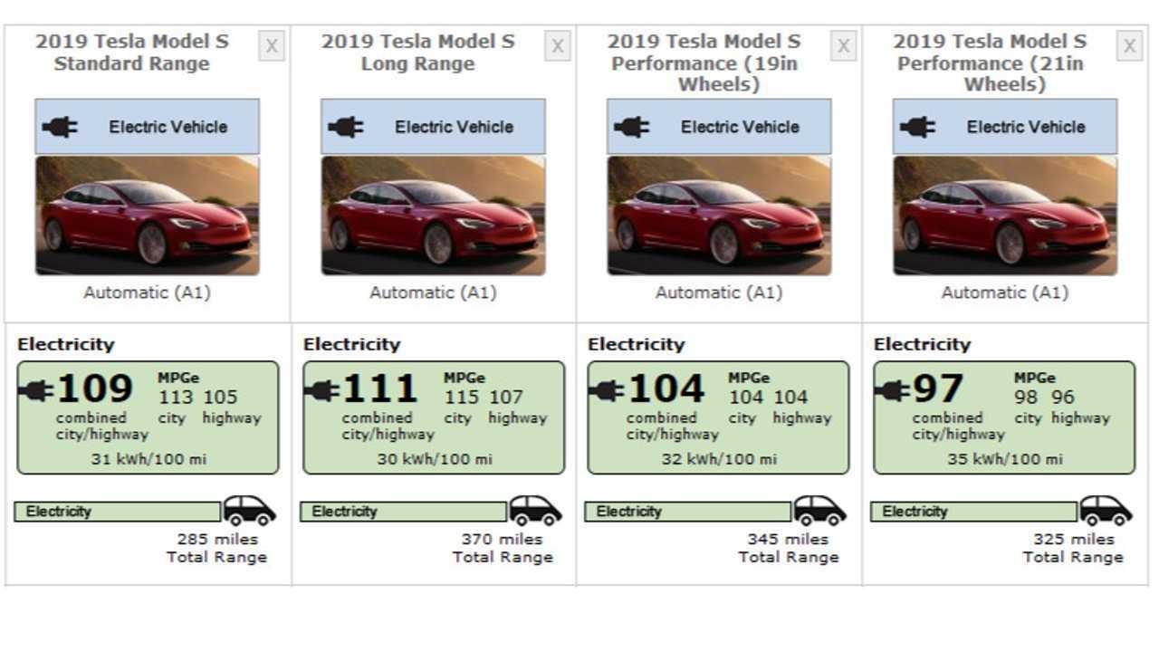 Tesla Model S (2019) EPA numaraları - 17 Haziran 2019