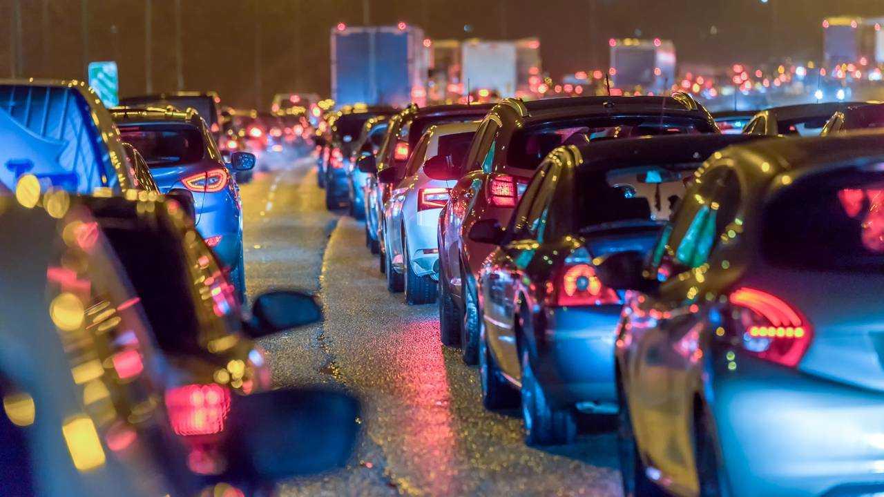 Night view busy UK Motorway traffic jam at night