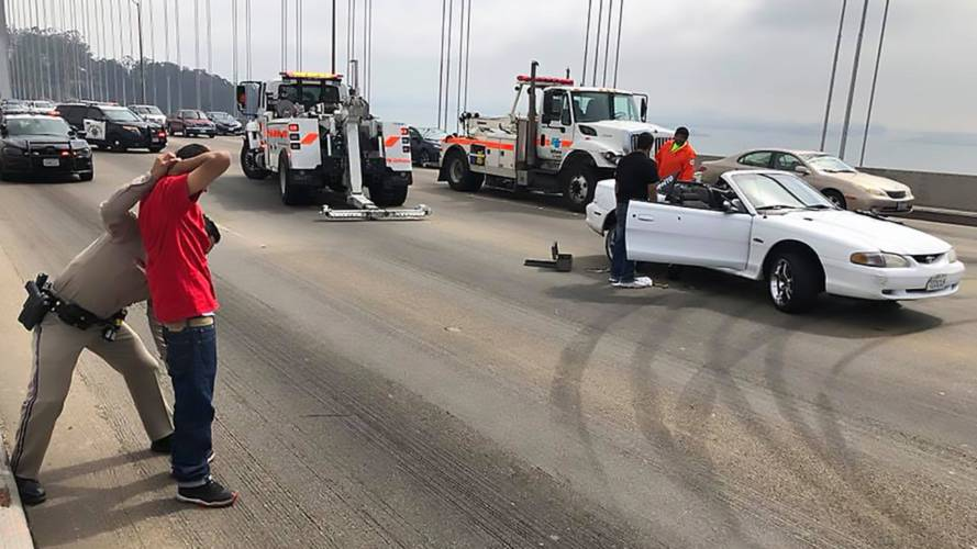 Mustang Hoon Loses Wheel, Gets Busted Doing Donuts On SF Bridge