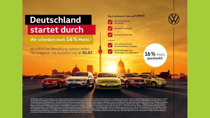 Volkswagen schenkt Privatkunden 16 Prozent Mehrwertsteuer