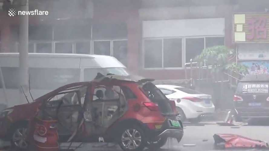 Watch this explosion of charging an electric car captured on video