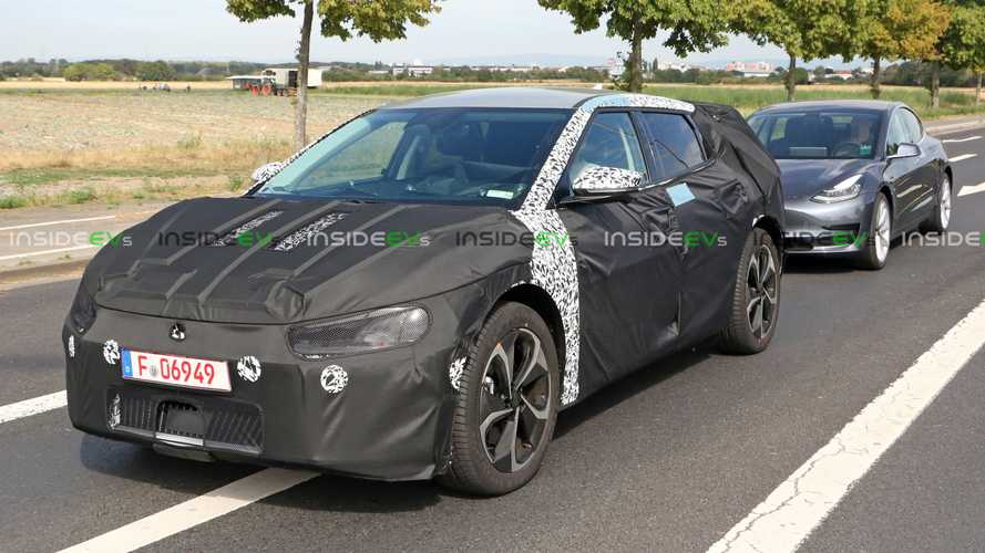 Kia EV Crossover Prototype Spotted Testing In Germany Alongside Tesla Model 3