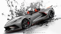 Corvette C8 Roadster und Widebody-C8 als Renderings