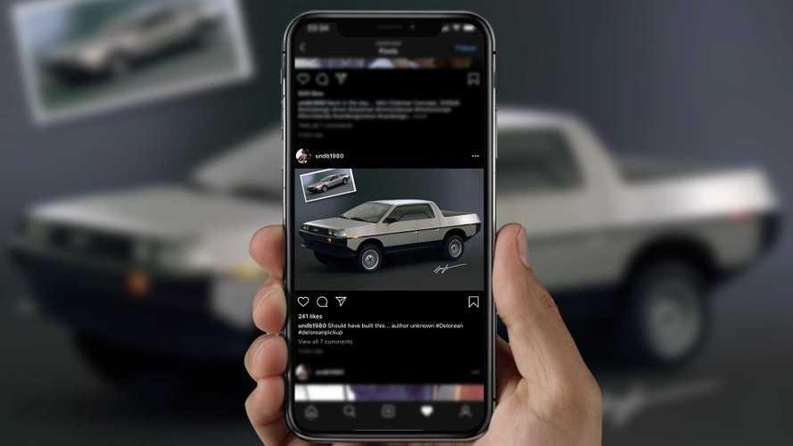 DeLorean Pickup Truck Rendering Shows Tesla Cybertruck Connection