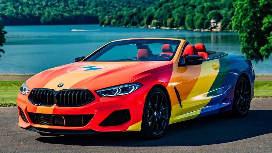 BMW 8 Series Convertible Shows Its Pride With Rainbow Wrap