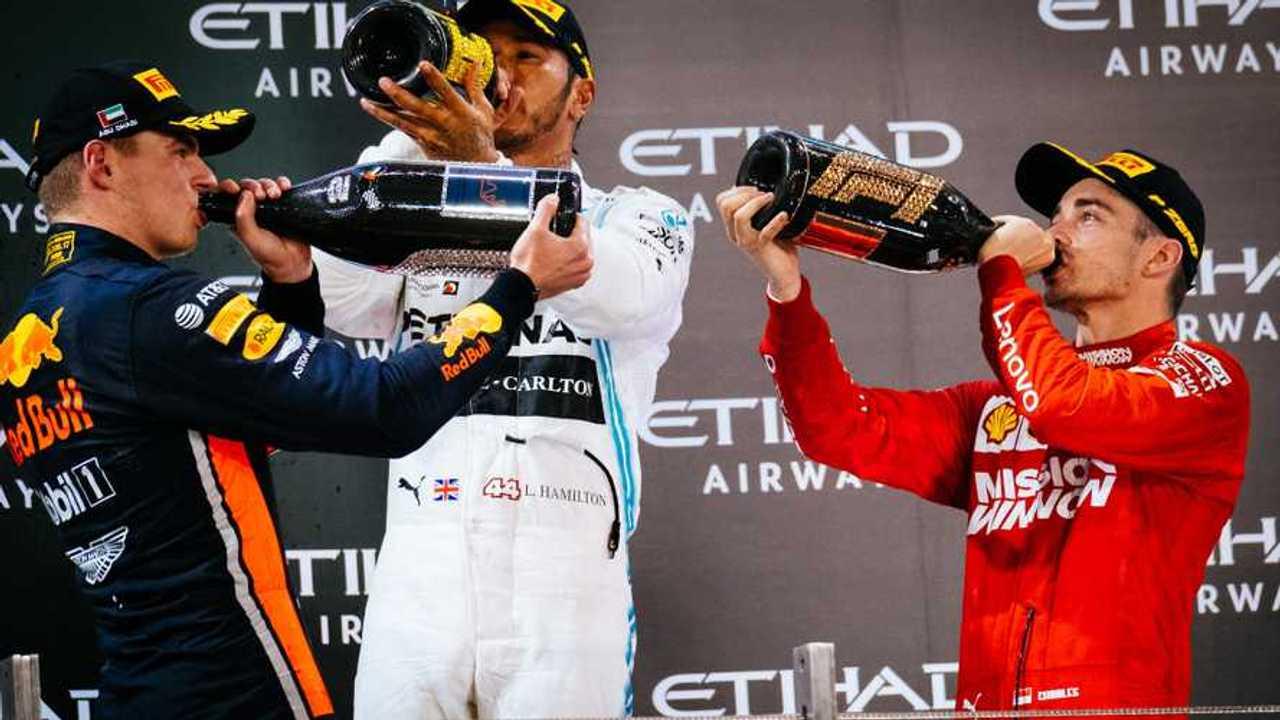Podium: Lewis Hamilton, Mercedes AMG F1 , Max Verstappen, Red Bull Racing, Charles Leclerc, Ferrari