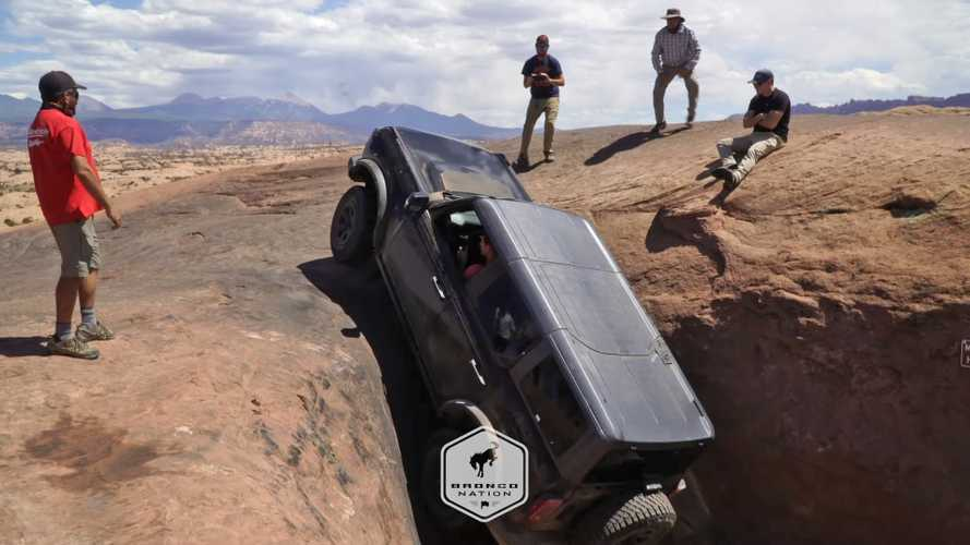 Watch 2021 Ford Bronco Go Nearly Vertical Climbing Rocks At Moab