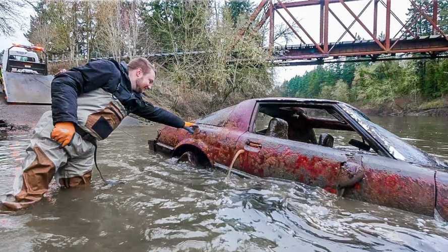 Classic Mustang Mach-1, Mazda RX-7 found at bottom of river
