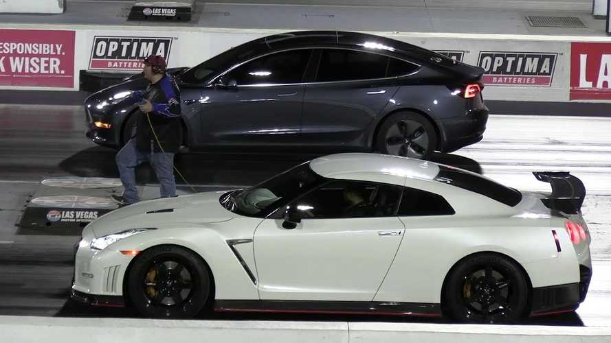 Watch Tesla Model 3 Race Nissan GT-R Nismo, Chevy Camaro ZL1