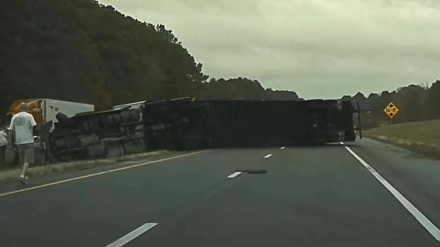 TeslaCam Captures Target Semi Truck Flipping Over On The Highway
