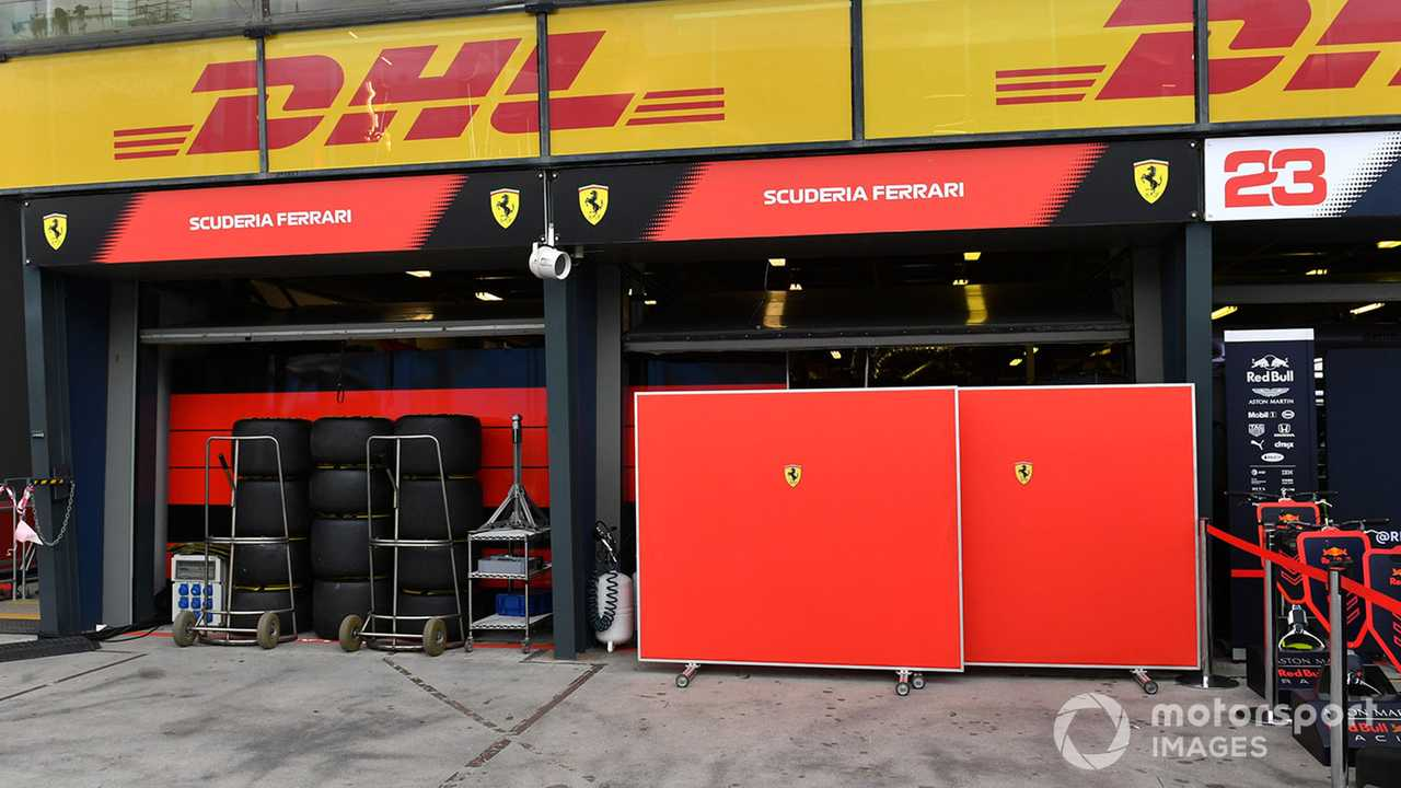 Screens outside the Ferrari garage at Australian GP 2020