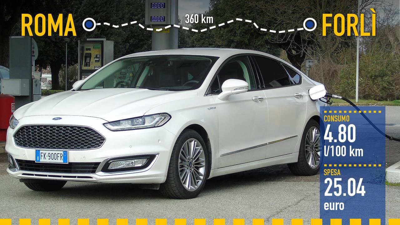 Ford Mondeo Hybrid Vignale, la prova consumi