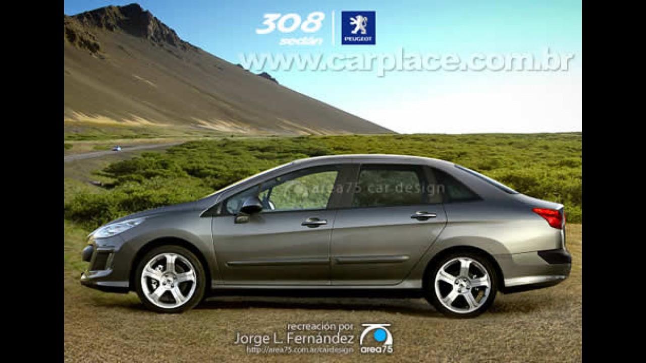 Designer argentino antecipa o inédito Peugeot 308 Sedan através de projeção