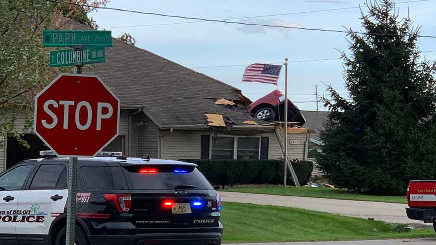 Truck Jumps Ditch, Crashes Through Roof Of Wisconsin Home