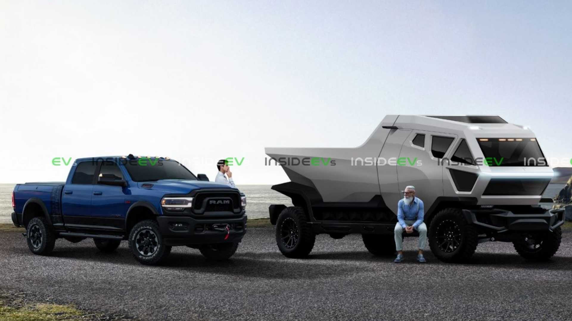 Electric Pickup Truck News Tesla Truck Renders Reveal And