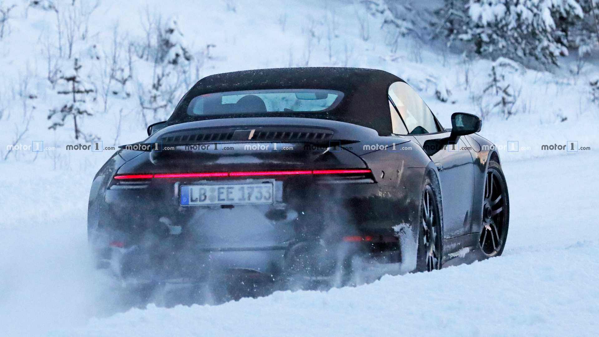 2020 Porsche 911 Turbo S Cabrio Spied Sliding Through Snow