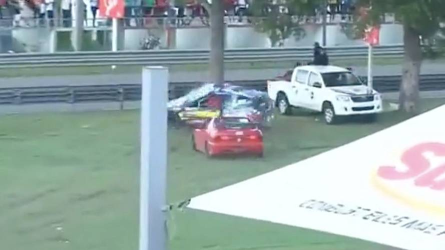 Race car driver survives horrifying, car-splitting accident
