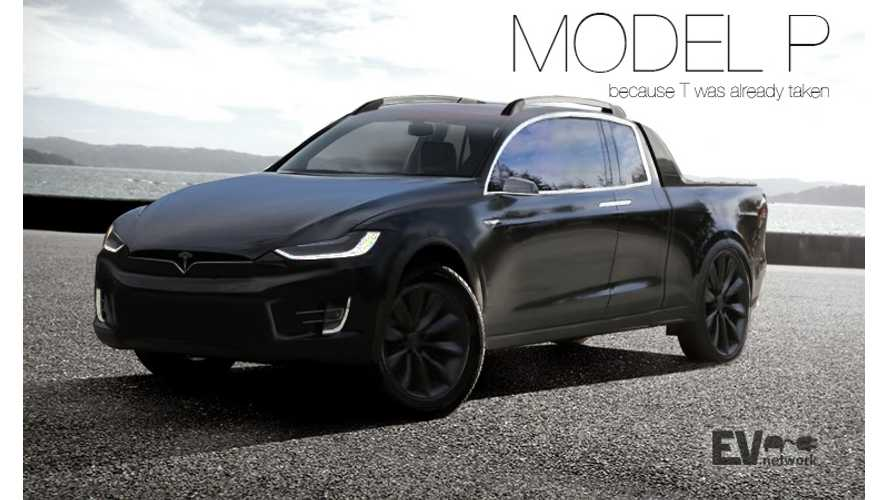 Tesla Model P Electric Pickup Truck Rendered