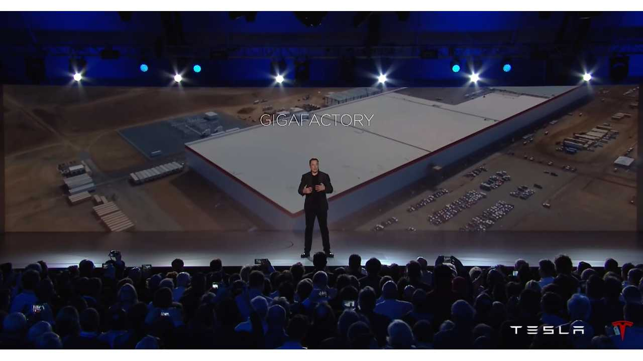 Elon Musk Showing Off The Gigafactory At The Model 3 Unveiling Event
