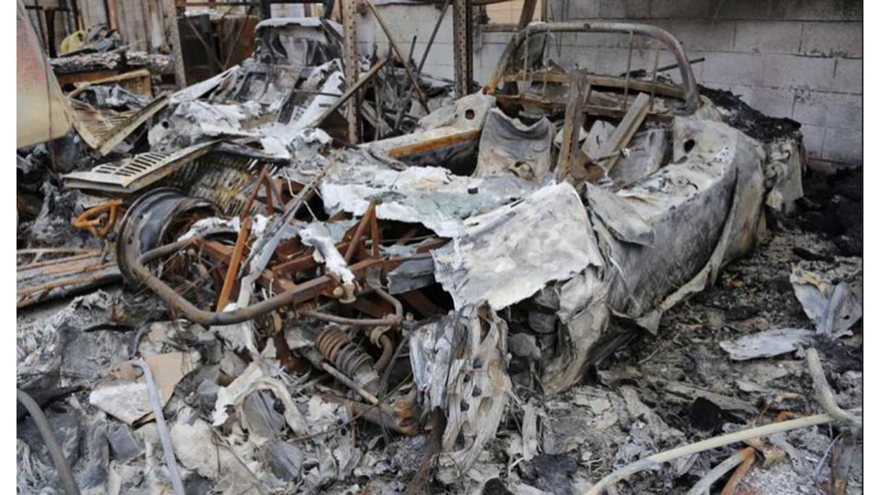 Electric Car History Lost In Fire: Tzero and Tesla Roadsters Burn Away