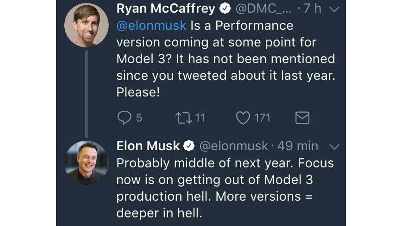 Musk Says Probably Middle Of Next Year For Performance Version Of Model 3