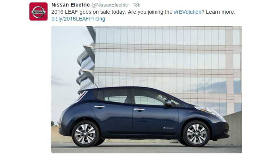 2016 Nissan LEAF Now On Sale In U.S.