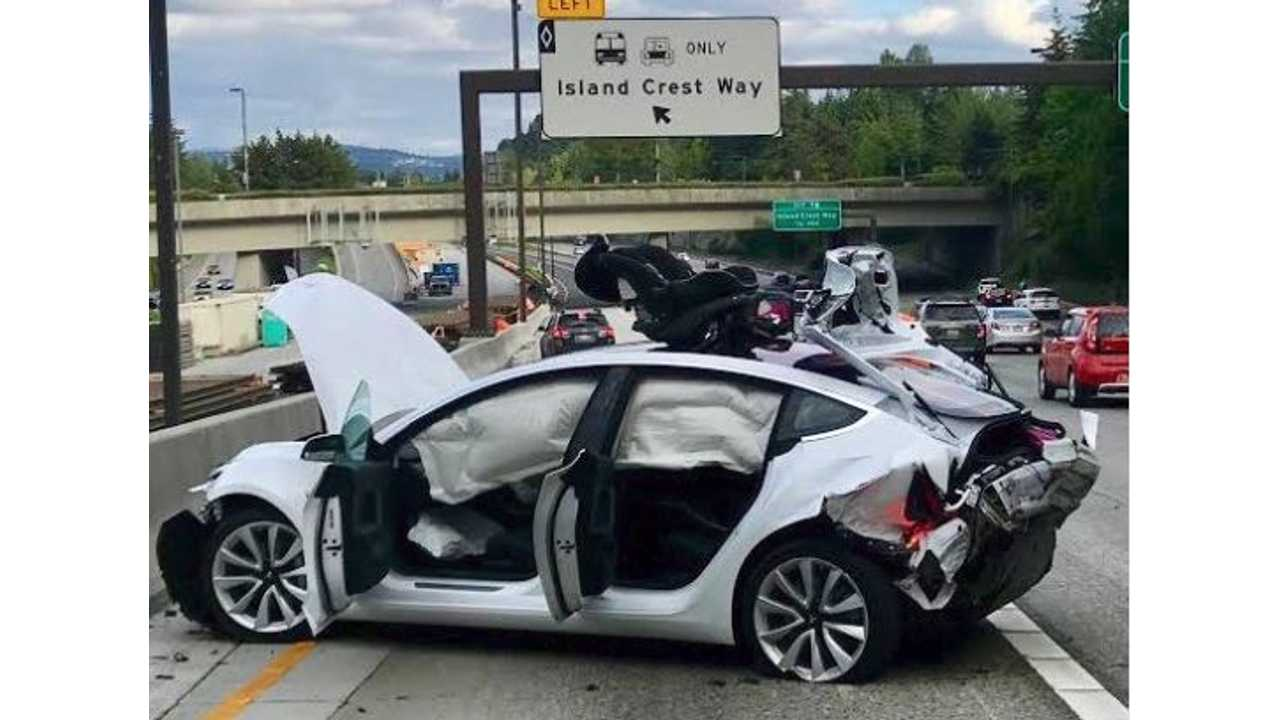 Tesla Model 3 Rear-Ended By Street Racing Camaro Driver