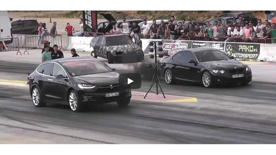 Watch Tesla Model X Beat Coal Rolling, Black Smoke Belching BMW