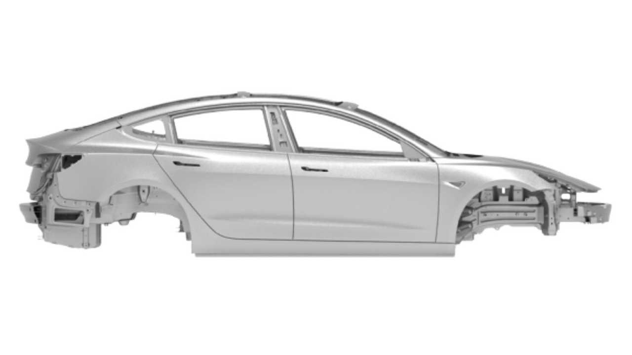 Tesla Model 3 body-in-white from newly released repair manual (Image Credit: Model 3 Owners Club)