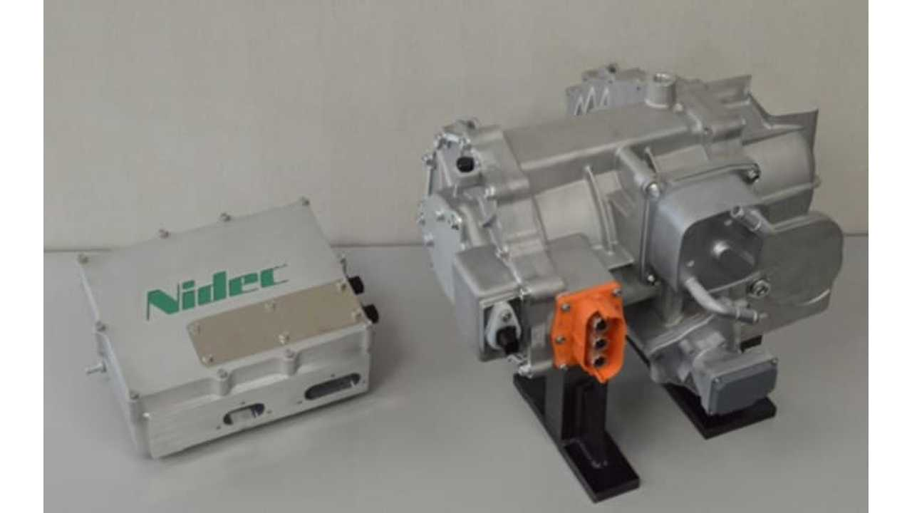Nidec's Inverter (left), Integrated traction motor and gear-box (right)