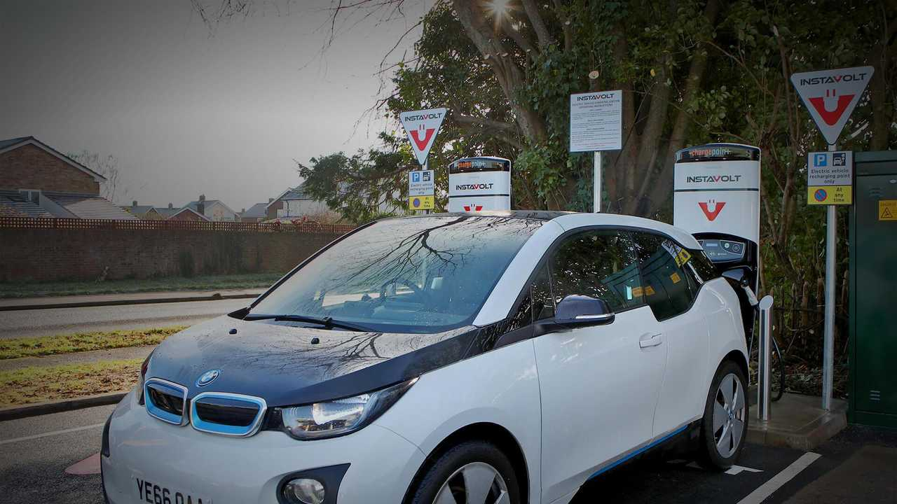 BMW i3 at InstaVolt fast charging station in UK