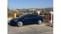 Tesla Model 3 at Supercharger in San Clemente, CA