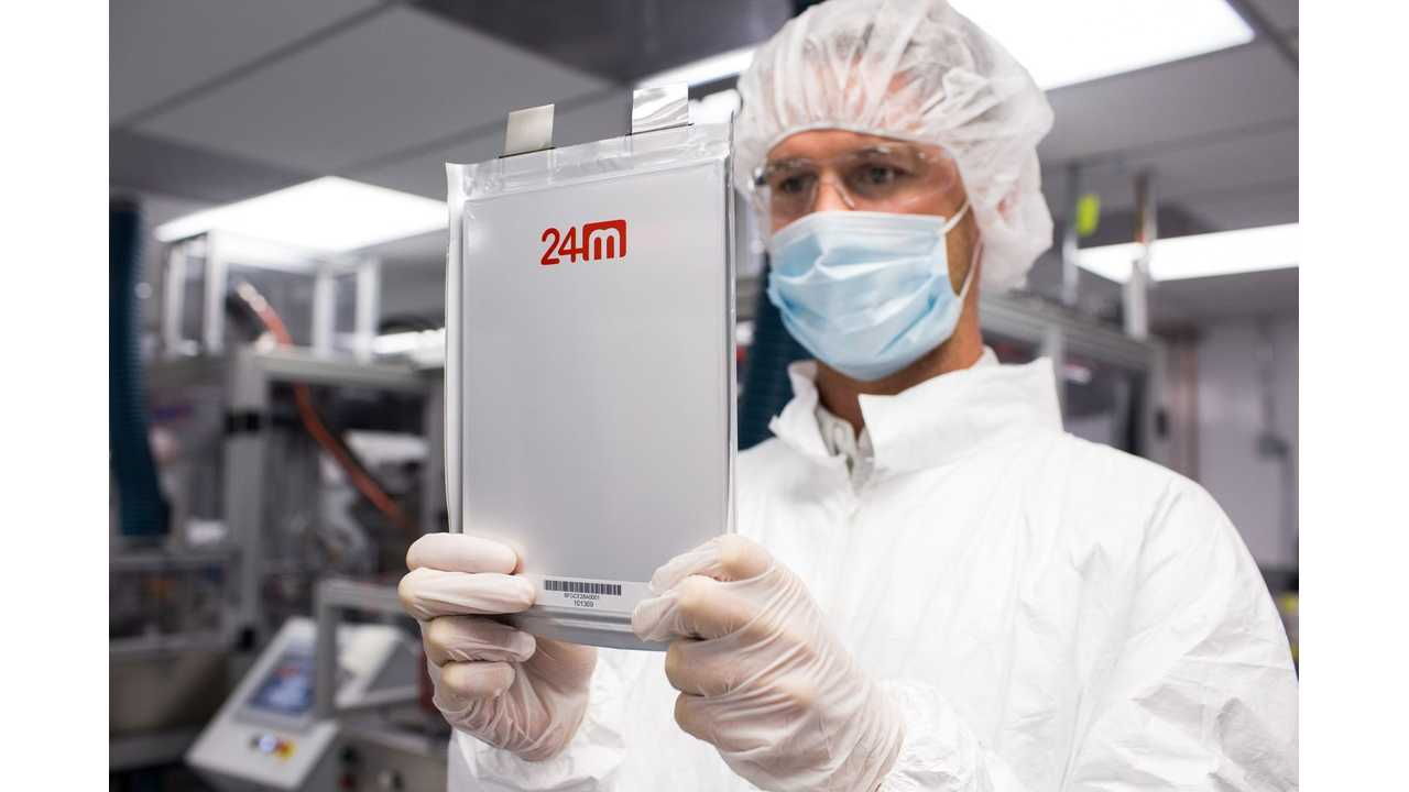 A 24M technician holds one of the company's new semisolid lithium-ion battery cells