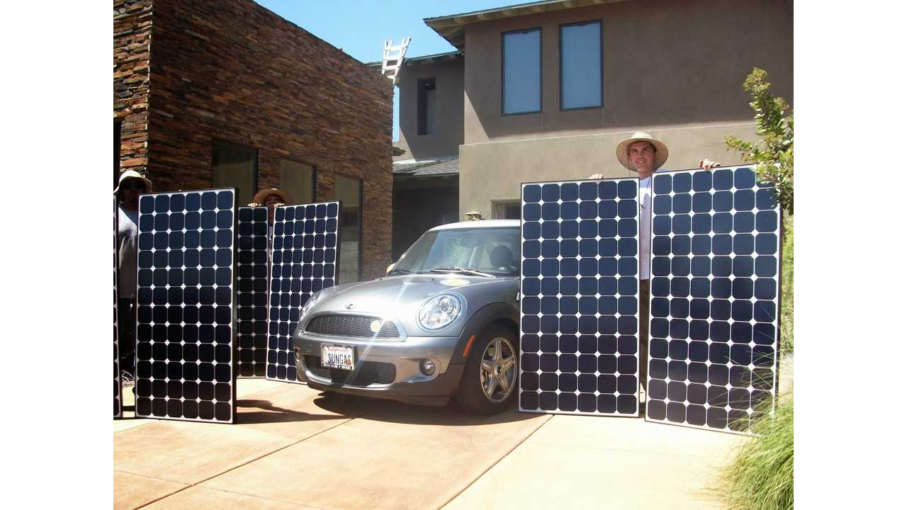 It takes six to eight solar panels to power a car 12,000 miles a year for 30 years
