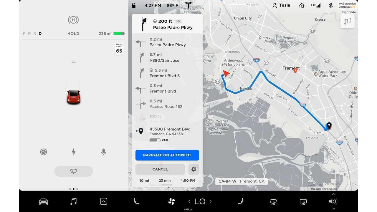Tesla - Navigate on Autopilot - Model 3 UI - Turn by Turn Direction List UI