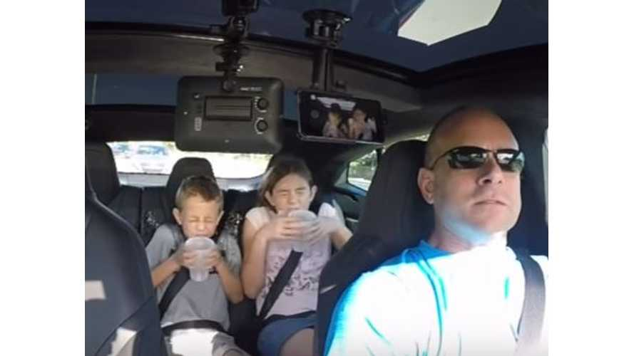 Don't Spill The Water Challenge In Tesla Model S P90DL - Video