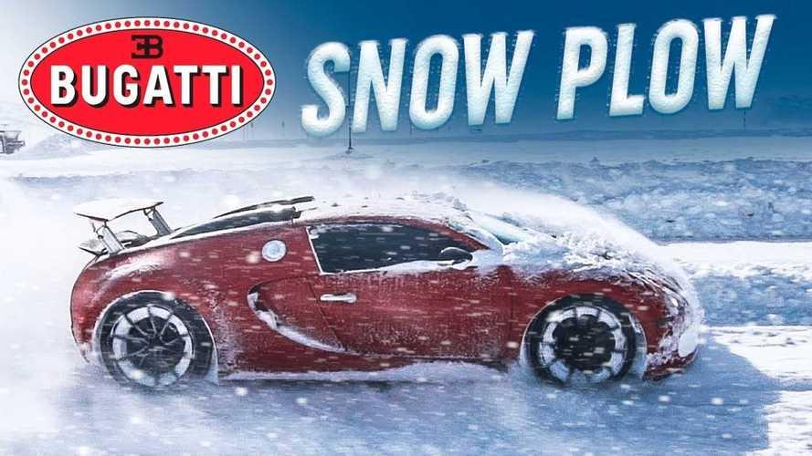 Mira un Bugatti Veyron corriendo a rienda suerte sobre la nieve