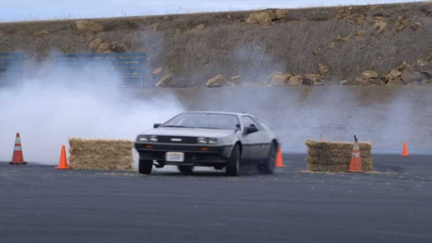 Watch This Awesome Driverless EV DeLorean Drift Like A Superstar