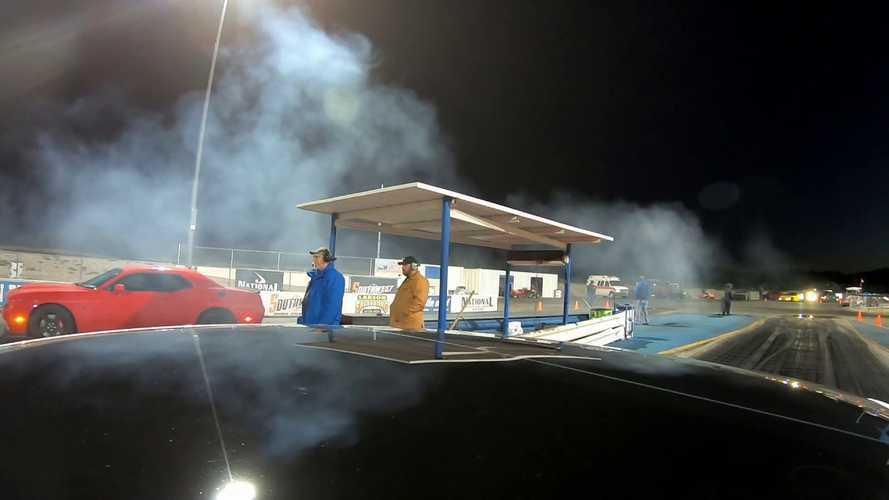 Watch Tesla Model 3 Performance Drag Race Challenger Hellcat Redeye