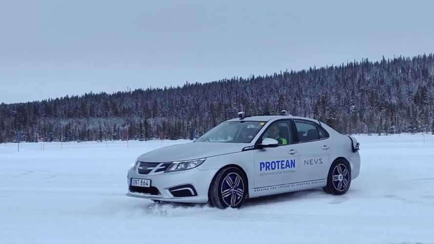 Watch Protean Electric-NEVS Prototype Tank Turn On Ice