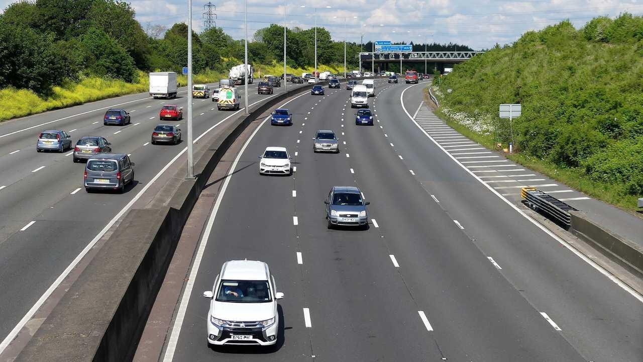M25 London Orbital Motorway near Junction 18 in Hertfordshire UK