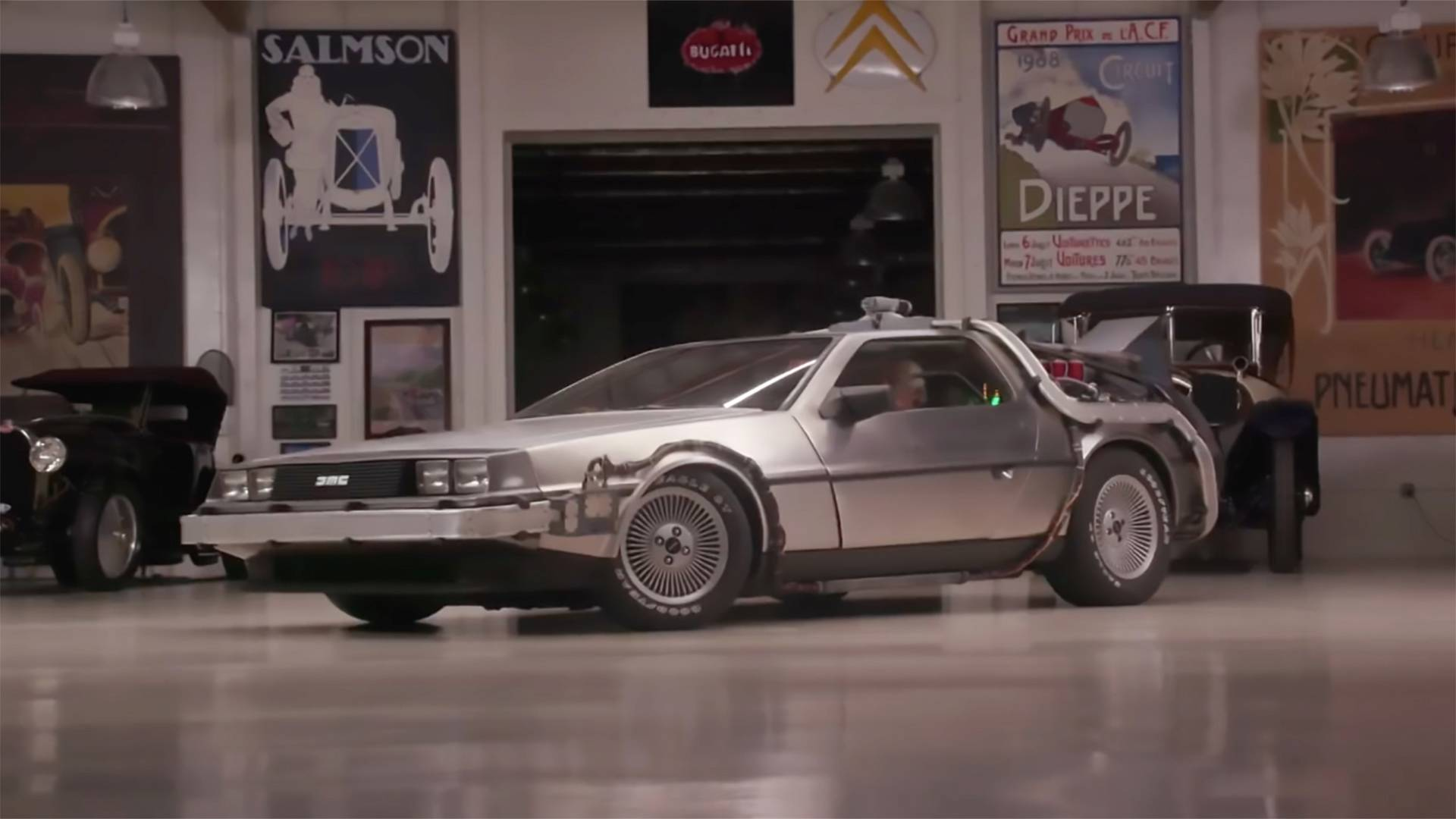 Jay Leno Drives Doc Brown's DeLorean From Back To The Future
