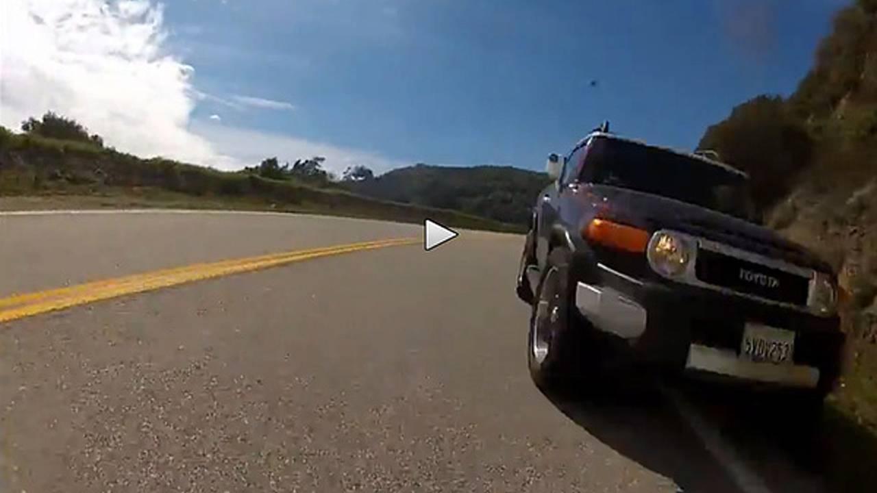 Watch an FJ Cruiser nearly kill a motorcyclist on GMR