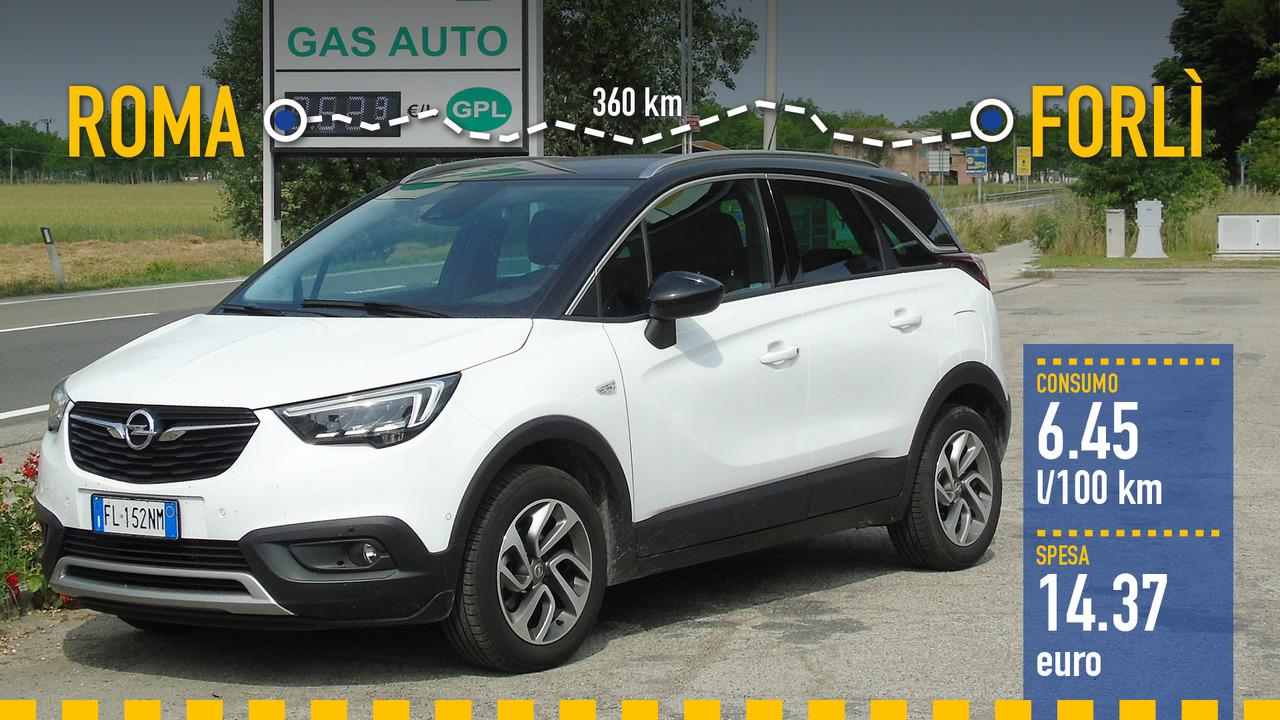 Opel Crossland X GPL, la prova consumi