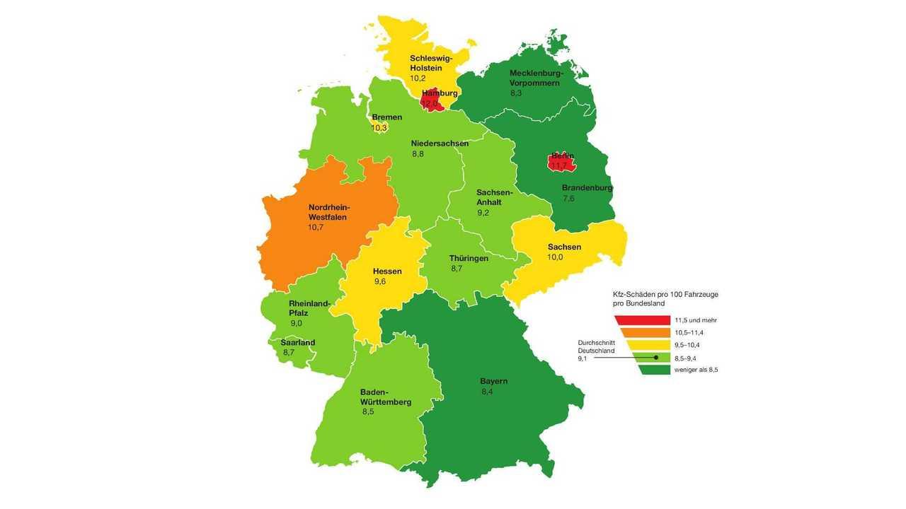 Karambolage-Atlas von Generali: Schadenshäufigkeit nach Bundesland