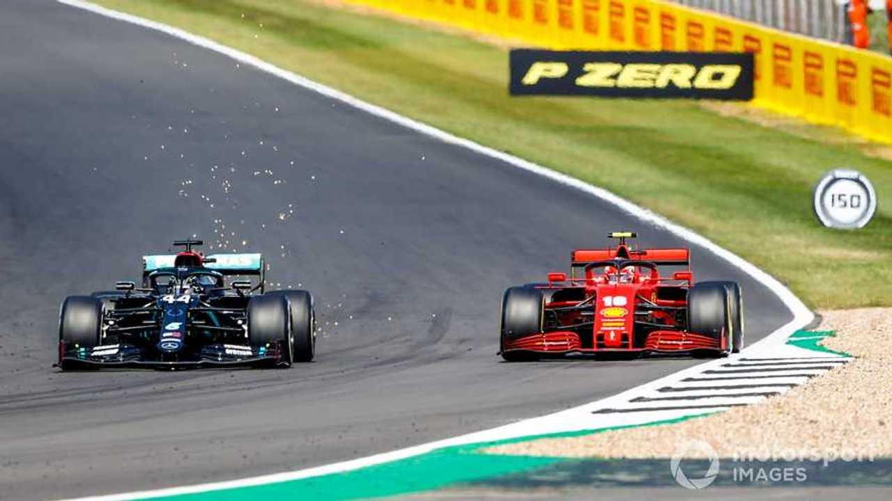 Lewis Hamilton battles with Charles Leclerc at 70th Anniv GP 2020