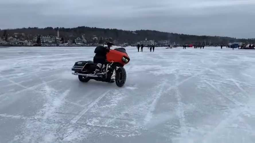 Watch these Harleys dance on a frozen lake